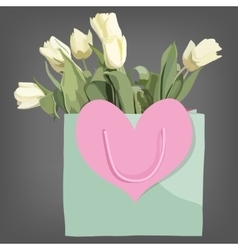 Bag and tulips flowers isolated on the grey vector