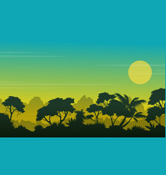 Beauty forest landscape with silhouette style vector