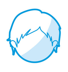 Blue color contour of head faceless of boy with vector