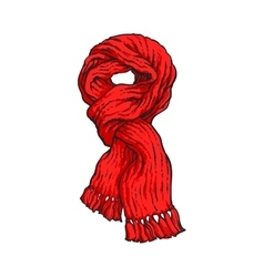 Bright red slip knotted winter knitted scarf with vector image vector image