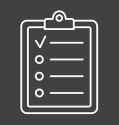 checklist line icon clipboard and note vector image