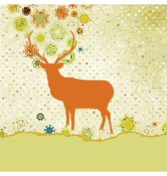 Christmas deer tempate card eps 8 vector