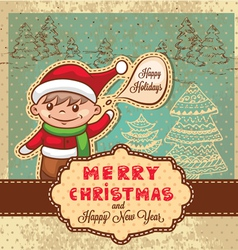 christmas retro card vector image