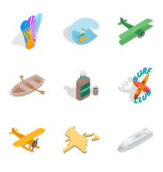 Experience trip icons set isometric style vector