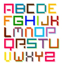 Font Colorful Pixel Retro Digital Alphabet Letters vector image vector image