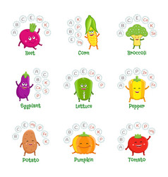 Funny vegetable characters with vitamins vector