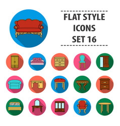 furniture and home interior set icons in flat vector image vector image