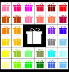 Gift box sign felt-pen 33 colorful icons vector