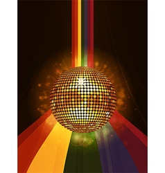Glowing disco ball over rainbow portrait vector image vector image