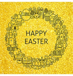 Gold Happy Easter Holiday Line Art Icons Set vector image