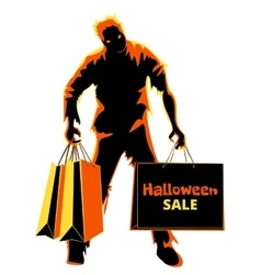 Halloween zombie shopper vector