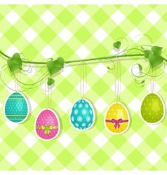 Hanging Easter egg background on green vector image