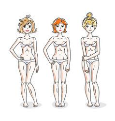 Happy attractive young women standing in white vector