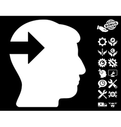 Head plug-in arrow icon with tools bonus vector