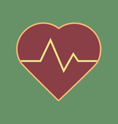 heartbeat sign cordovan icon vector image