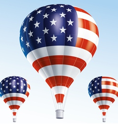 Hot balloons painted as USA flag vector image