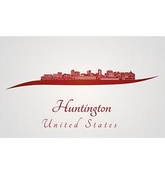 Huntington skyline in red vector