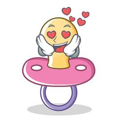 in love baby pacifier character cartoon vector image