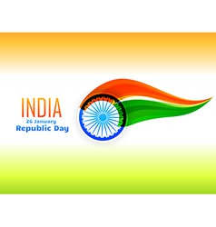 Indian republic day flag design made in wave style vector