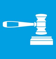 Judge gavel icon white vector