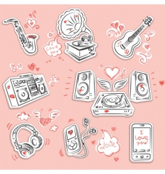 Love music and doodles vector