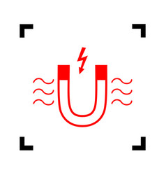 magnet with magnetic force indication red vector image
