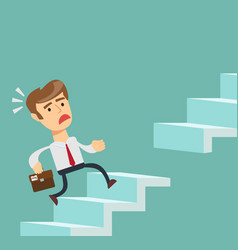 man running up the stairs vector image vector image