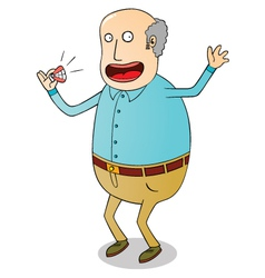 Old man with false teeth vector
