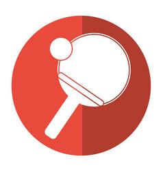 ping pong paddle ball shadow vector image