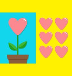 Pink heart icon set flower pot cute plant vector