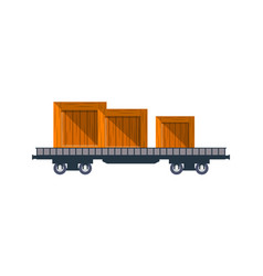 railway cargo truck with wooden boxes vector image