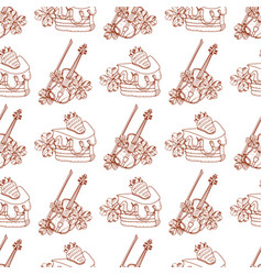 Seamless pattern with a violin and a slice of vector