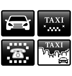 Set black taxi cab icons vector