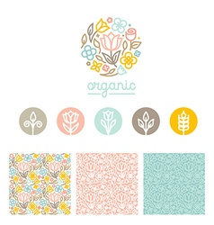 Set of logo design templates seamless patterns and vector