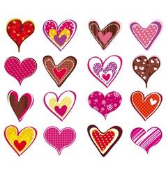 Sixteen lovely valentine heart vector