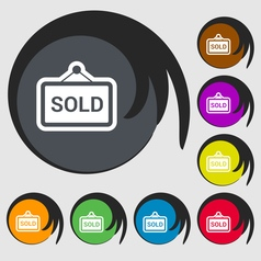 Sold icon sign symbol on eight colored buttons vector