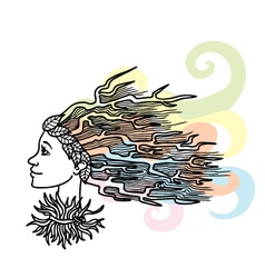 Stylized woman hairstyle vector image