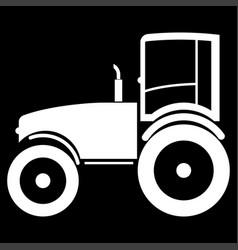 Tractor the white color icon vector