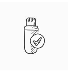 USB flash drive sketch icon vector image vector image