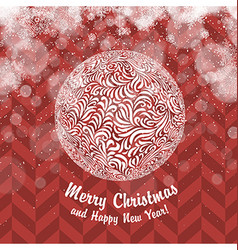 Vintage Christmas card with Christmas Ball vector image vector image