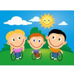 Wheelchair children vector