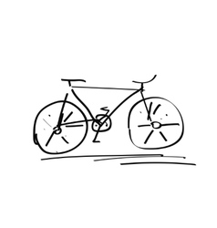Bicycle handdrawn sketch isolated on white black vector