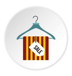 Hanger with scarf and sale tag icon flat style vector