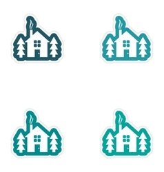 Set of paper stickers on white background house in vector