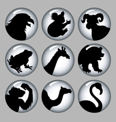 Animal silhouette black and white 2 icons vector