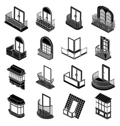 Balcony window forms icons set simple style vector