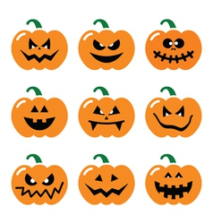 Halloween pumpkin icons set vector