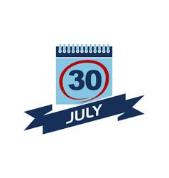 30 july calendar with ribbon vector