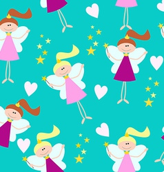 Cute seamless pattern for little girls fairy with vector