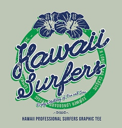 Hawaii surfers grunge effect on separate layer vector